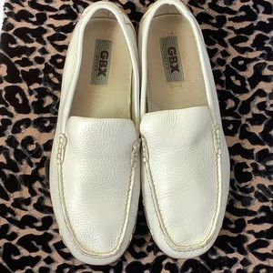 GBX Elite White Leather Driving Loafers Size 11
